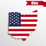 Ohio State map with US flag inside and ribbon Royalty Free Stock Photography