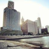 Ohio street beach in Chicago. View of the Ohio street beach and buildings in Chicago Stock Photos