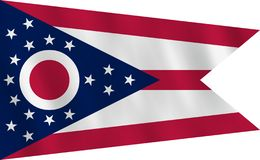 Ohio US State Flag With Waving Effect, Official Proportion Royalty Free Stock Photography