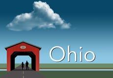 Ohio uwypukla w ten wiejskim o temacie plakacie Czerwień zakrywający most, niebieskie niebo, strumień i mieszkanie obszar trawias ilustracji