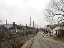 Ohio Valley steel town. Mingo Juction, Ohio was the home of this steel mill of Wheeling-Pittsburgh Steel Co stock photo