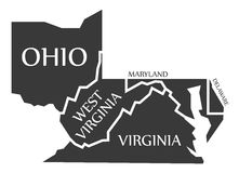 Ohio - West Virginia - Virginia - Maryland - Delaware Map labell Stock Photography