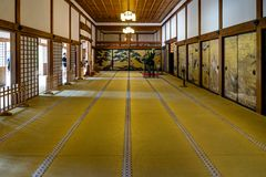 Ohiroma Room Traditional Japanese Room with Tatami. Koya San Wakayama Osaka - October 2017 - Mount Koya San is the center of Shingon Buddhism, an important Stock Image