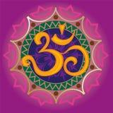 Ohm di Chakra con la mandala Fotografia Stock Libera da Diritti