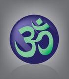 Ohm Iconic Flat Design Emblem. Yoga Stock Image