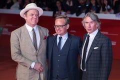 Ohn C Reilly, Steve Coogan och Jon Baird på den röda mattan royaltyfria foton