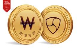Ohne Gegenstimmen gewonnen isometrische körperliche Münzen 3D Digital-Währung Korea gewann Münze Cryptocurrency Goldene Münzen mi vektor abbildung