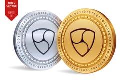 Ohne Gegenstimmen isometrische körperliche Münzen 3D Digital-Währung Cryptocurrency Goldene und Silbermünzen mit ohne Gegenstimme Lizenzfreie Stockfotos
