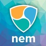 OHNE GEGENSTIMMEN XEM-blockchain cripto Währungs-Vektorlogo Stockfoto