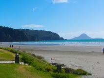 Beach scene New Zealand stock image