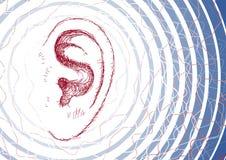 Ohr und Schallwellen Stockbild