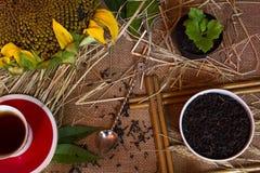 Ohren des Weizens, Tee, Schale Stockfoto