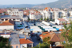 Ohrid from above. Macedonian city of Ohrid aerial view. Slate roofs of the city market and other buildings Royalty Free Stock Photo