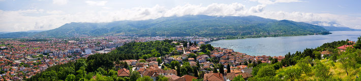 Ohrid-Bucht, Mazedonien Lizenzfreie Stockfotos