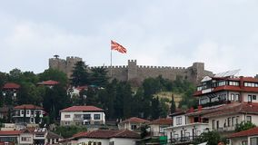 Ohrid city and fortress. Macedonia stock footage