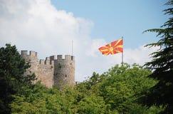 Ohrid e la bandierina macedone Fotografia Stock