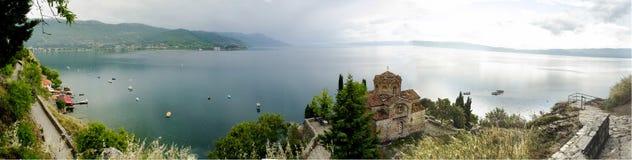 Ohrid jeziora panorama fotografia royalty free