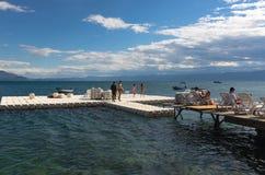 Ohrid jezioro i plaże obraz stock