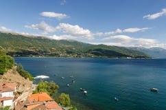 Ohrid jezioro i plaże zdjęcia stock