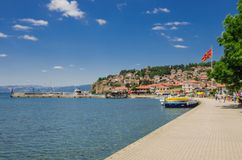 Ohrid jezioro i plaże fotografia stock