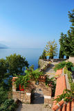Ohrid lake. A view from the hill on the yard/garden of  church St. John Kaneo and the lake of Ohrid Stock Photos