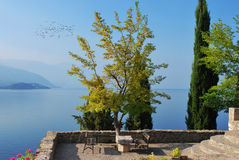 Ohrid lake. A view from the yard/garden on the lake of Ohrid Royalty Free Stock Images
