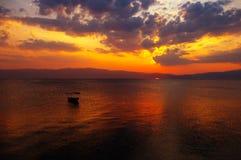 Ohrid, lake. Ohrid lake and boat for fishing, Macedonia Stock Image