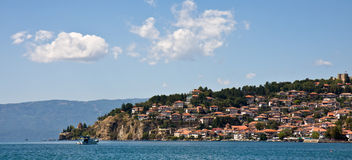 Ohrid Lake and City Stock Photo