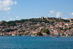 Ohrid Lake and City. View of the lake and town of Ohrid in Macedonia Stock Image