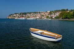 Ohrid lake. Fishing boat with the view of an old town of Ohrid Royalty Free Stock Photography