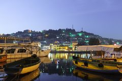 Ohrid Lake Fishing Boats With The View Of An Old Town Of Ohrid Macedonia At Night Stock Image