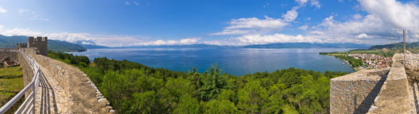 Ohrid lake in Macedonia from old castle Stock Photos
