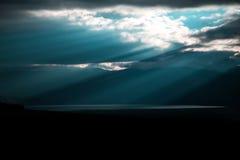 Ohrid lake in Macedonia. Sunlight crossing sky and water Stock Photo
