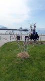 Ohrid, Macédoine, sur Pâques Arbre d'oeufs en parc Image stock