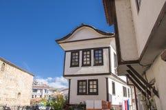 Ohrid, Macedonië - traditionele architectuur - Ohrid-huis stock foto
