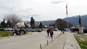 Ohrid, Macedonia, on Easter. Entrance on marina Stock Photo