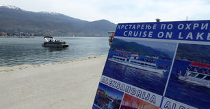 Ohrid, Macedonia, on Easter.Tourist boat Stock Images