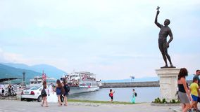 OHRID, MACEDONIA, JUNE 2015: Everyday scene from Ohrid city of Macedonia which is famous for its unesco listed historical center. And beautiful lake separating stock video footage