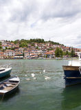 OHRID MACEDONIA. 03 JUNE 2016- View of a Lake Ohrid and city of Ohrid in Macedonia Stock Image