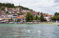 OHRID MACEDONIA. 03 JUNE 2016- View of a Lake Ohrid and city of Ohrid in Macedonia Stock Photography
