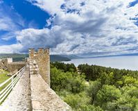 View from watchtower of famous old fortress ruins of tzar Samuel in Ohrid. Ohrid - Macedonia. View from watchtower of famous old fortress ruins of tzar Samuel in Royalty Free Stock Images