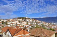 Ohrid Makedonien - gammal stad - panorama royaltyfri bild