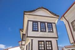Ohrid Makedonien - traditionell arkitektur arkivfoto
