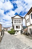 Ohrid old traditional architecture and pavement alley street Stock Images