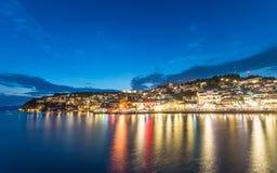 Ohrid przy nocą Zdjęcia Stock