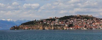 Ohrid See, alte Stadt und Festung Stockbild