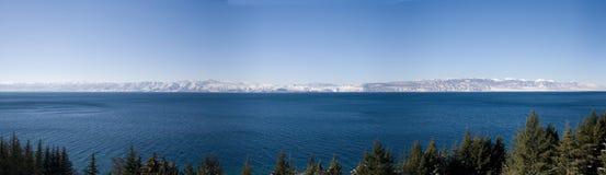 Ohrid See auf Winter Lizenzfreies Stockbild