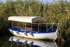 Ohrid sjö. Fiskebåtar med sikten av en gammal stad av Ohrid Royaltyfria Bilder