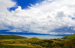 Ohrid sjö från albanian sida Arkivfoton