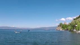 Ohrid sjölandskap Makedonien lager videofilmer